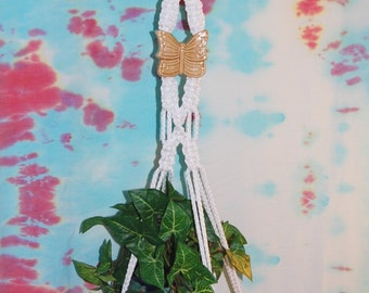 Small Macrame Plant Hanger White Cord and Vintage Butterfly Ceramic Focal Bead 29 inches total length Butterfly Decor