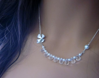 Silver Orchid Glass Drop Sterling Silver Necklace