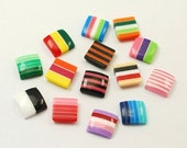 20 Piece 10mm Flat Square Striped Cabochon Dome Cab Perfect for Earrings