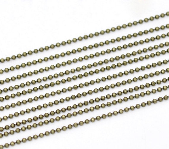 10 Meters 30 Feet of 1.5mm Ball Chain in Antique Bronze with 25 Connectors