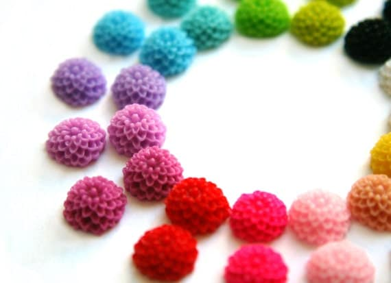 You Choose 30 10mm Mum Dahlia Cabochons For Earrings and Bobby Pins DIY