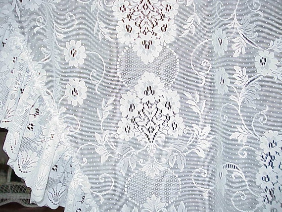 Beautiful Vintage Victorian Sparkling White LACE Swag Curtains 84 long