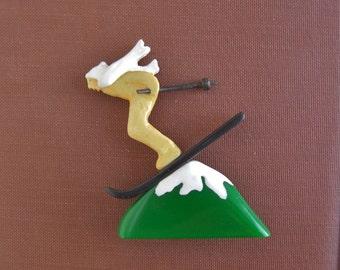 BAKELITE Hand Carved Skier Brooch / Pin - Large
