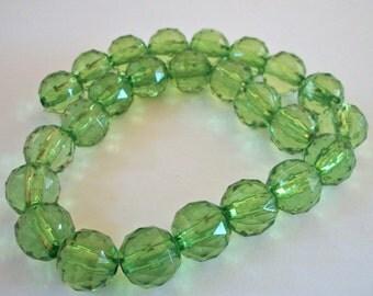 Green Acrylic Round Bead Strand