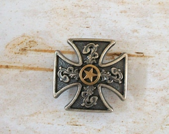Maltese Cross with Old West Silver and Gold Star Concho Perfect for Ring