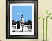 Madrid Spain Poster City Skyline - Retiro Park Art Print - 8 x 10 Choose Your Color - DBArtist