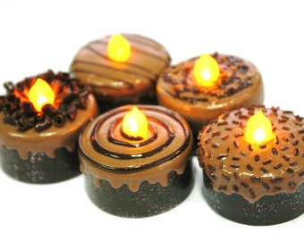 LED, Miniature Chocolate Tea Light, Trendy decoration for Party,1 pcs