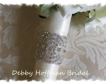 Rhinestone Bridal Bouquet Wrap, Jeweled Wedding Bouquet Cuff, Art Deco, Cuff Bracelet  No. 1141BW, Wedding Accessories, Wedding Bouquet Wrap