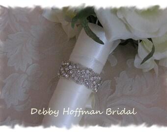 Wedding Bouquet Wrap, Rhinestone Crystal Bridal Bouquet Wrap, Jeweled Wedding Bouquet Wrap, Silver Beaded Bridal Bouquet Cuff, No. 3010BW