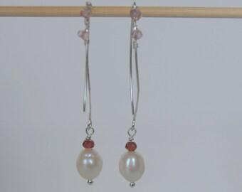 Pearl, Pink Topaz and Garnet Earrings