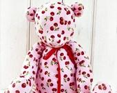 Large Corduroy Teddy Bear, Cherries on Pink Corduroy