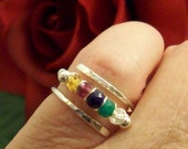 Sterling Silver Open Cross-Band Mothers Ring Personalized With Up To 5 Genuine Gemstones