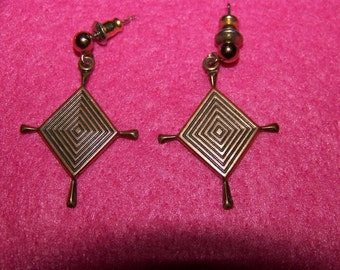 Modernist Style Copper Dangle Earrings Signed WM Co