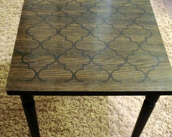 Retro Side Table, Formica  top with graphic design.