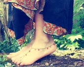 Barefoot tribal dance anklet bracelet ( summer, red, yellow, belly dance, original, rainbow, jam ) 03
