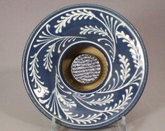 Stoneware Ikebana Vase  Pin Vase Wedding centerpiece  White Wheat on Blue Background