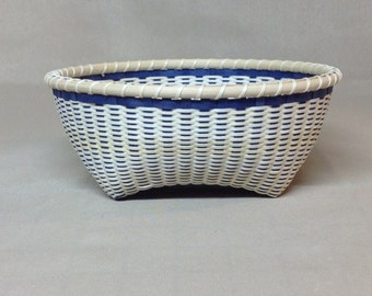 Small Hand Woven Basket, Black Ash, Plain Weave, Royal Blue and Natural