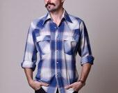 80s Mens Cowboy Shirt - Vintage Plaid Levis Pearl Snap Button Shirt -  Blue Plaid - Small Medium