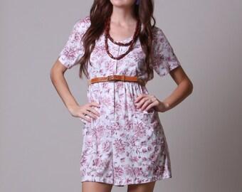 Large - 80s Skort - Vintage Floral Shorts Romper - Pink and White Jumper with Pockets