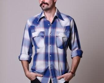 Small / Medium - 80s Mens Cowboy Shirt - Vintage Plaid Levis Pearl Snap Button Shirt - Blue Plaid