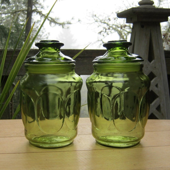 Avocado Green Canisters - Apothecary Jars