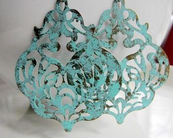 Turquoise Blue Earrings, Gypsy Earrings, Ornate earrings, Large earrings, Womans Tribal Jewelry, Bohemian Earrings,  Redpeonycreations