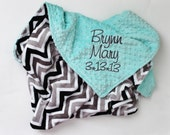 CHEVRON MINKY PERSONALIZED Baby Stroller Blanket with Your Choice of Colors