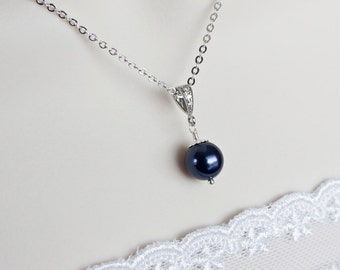 Navy Blue Swarovski Necklace, Bridesmaids Navy Blue Swarovski Pearl Necklace in Sterling Silver, Navy Blue Necklace