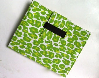iPad Case - IPad, iPad 2 and iPad 3 folding cover or stand in bright green leopard