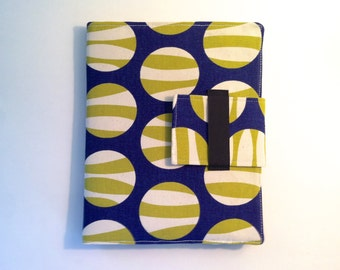 iPad Case - Fits all generations.  Folding cover or stand in Modern Navy and cream