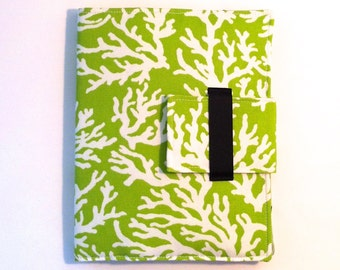 iPad Case, iPad Cover, iPad Folding Stand in lime green and white coral