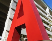 Neon Channel Sign Capital Letter 'A': Large Cherry Red Metal Reclaimed Industrial Salvage Advertising Marquee Initial