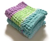 Dishcloth Vegan Washcloth Purple Blue and Green Handknit Set of Two