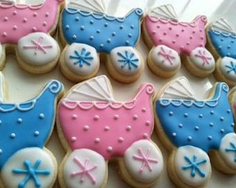 Baby carriage Sugar Cookies, Baby shower cookies 1 dozen