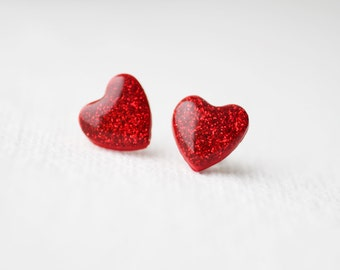 Red Glitter Hearts Stud Earrings, post earrings - BUY 2 GET 1 FREE