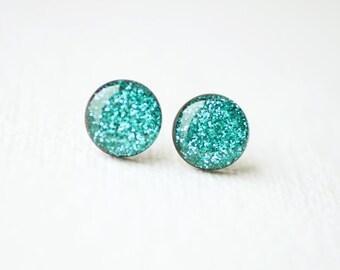 Sea Green Sparkles - Glitter Stud Earrings - Sparkle Earrings - Glitter Jewelry BUY 2 GET 1 FREE