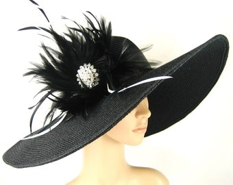 Kentucky Derby Hat Derby Hat Dress Hat Wide brim black Hat with Rhinestone Formal Dress Hat Wedding Tea Party Ascot  Horse Race