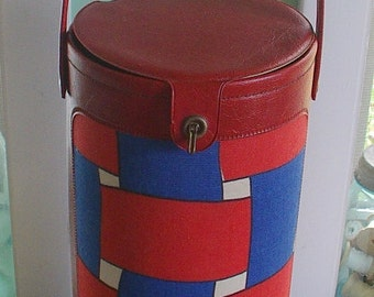 Mid Century KNITTING CASE organizer carry-all TOTE Mod Art red and blue vintage 1960s