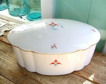 Porcelain SERVING BOWL BAVARIA covered oval dish w/ Gilt lid Art Deco 1930s