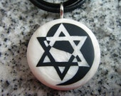 Star of David Yin Yang hand carved on a polymer clay mother of pearl color background. Pendant comes with a FREE 3mm necklace