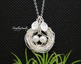Family Bird Nest Necklace, Mothers Day Jewelry, Two Initial Necklace, Mother from Daughter, Mother Necklace, Gift for Mom Jewelry, Family