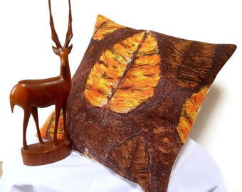 SALE Retro Leaf cushion - Iconic 50s 60s Orange and Brown Vintage Fabric Barkcloth