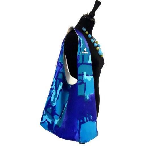 SALE Retro Vintage Fabric Boho Bag - 60s Atomic Blue Design