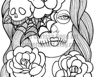 digital download print your own coloring book outline page wash away sugar skull girl by - Print Your Own Coloring Book