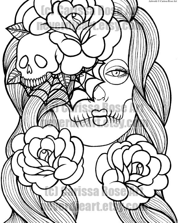 Detailed Skull Coloring Pages For Adults Coloring Pages Skulls And Roses Coloring Pages