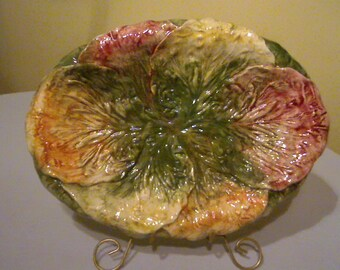 Lettuce Leaf Platter / Red and Green Salad Platter / Made in Italy / Vintage Pottery