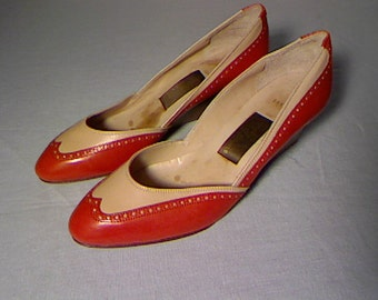 Vintage Brand New Spectator Red and Beige Shoes By Amalfi