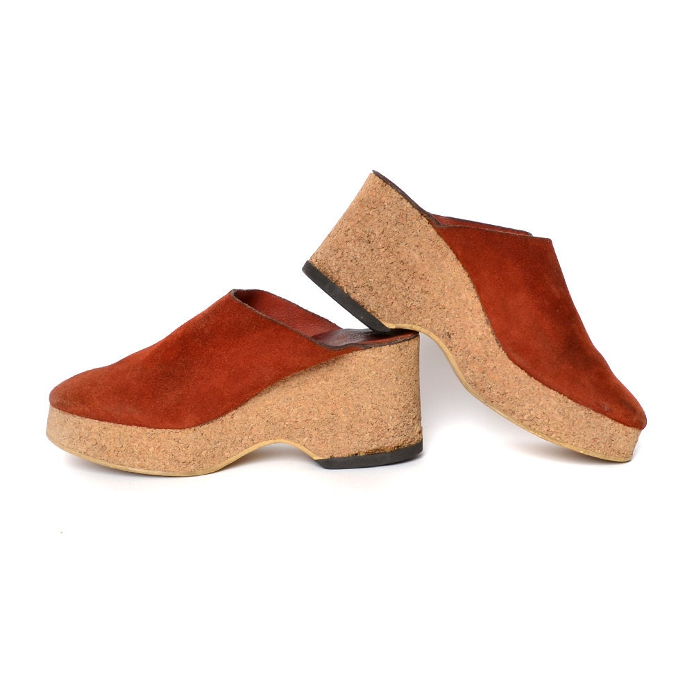 70s Clogs Rust Suede Platform Cork Wedge Shoes Slip Ons