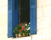 Travel Photography - Loire Valley Window on Blank Note Card - Red White and Blue