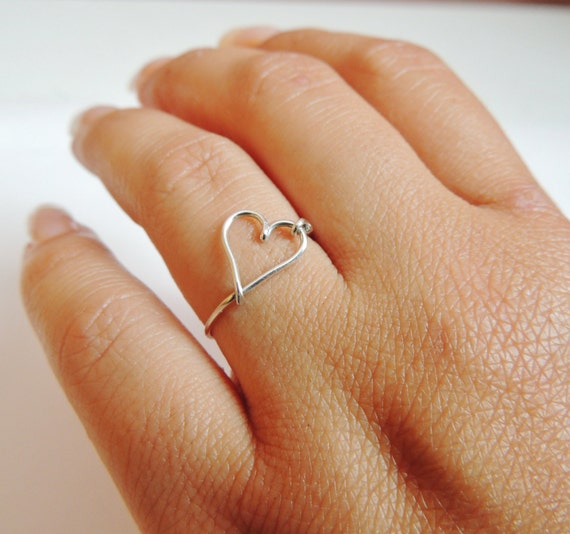 heart ring, love ring, heart sterling silver, wire ring